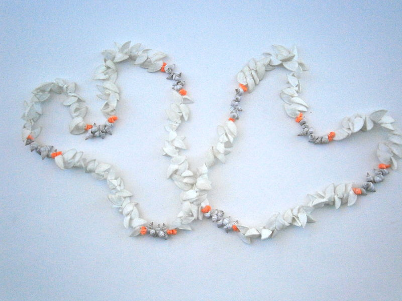 Vintage Split White Seashell Lei Hawaiian Necklace Dyed Orange Mongo Popcorn Tiny Shells Brown Nassa Luau Graduation Wedding Beach Island  - product images  of