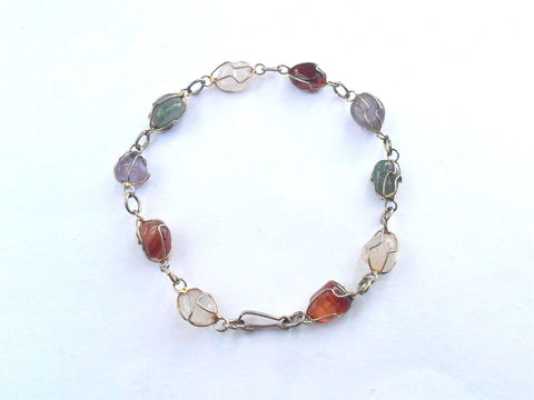 "Vintage,Multicolored,Genuine,Gemstone,Bracelet,Gold,Tone,Wire,Wrapped,Caged,Multi,Color,11mm,x,7mm,Millimeter,Stones,9"",Inches,Single,Strand,vintage multicolored genuine gemstones 9"" inches bracelet, vintage gemstone wire wrap single strand bracelet, vintage authentic gemstone wired caged gold tone bracelet, vintage colorful gemstones bracelet, aventurine quartz amethyst green stone bracelet"