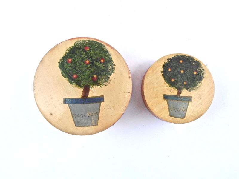 Vintage Apple Tree Painted Nesting Boxes Wooden Round Cases Two Wood Containers Trinket Keepsake Novelty Vanilla Planter Green Vase  - product images  of