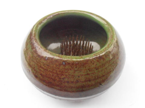 Vintage,Green,Brown,Art,Pottery,Flower,Vase,Ceramic,Bowl,Metal,Pin,Frog,Round,Ikebana,Arrangement,Glazed,Earthenware,Arranger,Holder,Planter,vintage green brown art pottery bowl, vintage green flower vase, vintage ceramic bowl metal pin frog, vintage ikebana round earthenware vase, vintage ikenobo flower arranger vase, vintage stoneware flower holder stand, vintage glazed flower vase planter