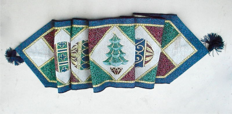 Vintage Blue Maroon Xmas Table Runner Christmas Tree Tablecloth 70 Inches x 13 Inch Balls Geometric Diamond Scarf Green Gold Dining Holiday  - product images  of