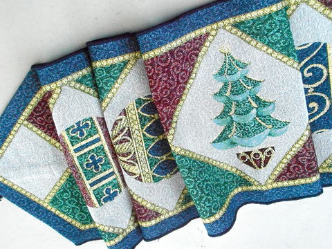 Vintage,Blue,Maroon,Xmas,Table,Runner,Christmas,Tree,Tablecloth,70,Inches,x,13,Inch,Balls,Geometric,Diamond,Scarf,Green,Gold,Dining,Holiday,vintage blue maroon xmas thick table runner, vintage christmas tree balls tablecloth, vintage christmas tree table runner, vintage Christmas 70 inch x 13 inch blue table runner, christmas holiday dining table, vintage shabby cottage chic table runner