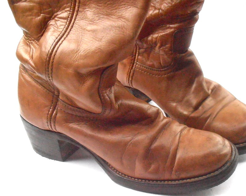 Vintage Frye Distressed Leather Boots Saddle Brown Dark Caramel Ladies Tall Campus 4L Knee High Western Wrangler Women Shoe Size 6B Cowgirl - product images  of