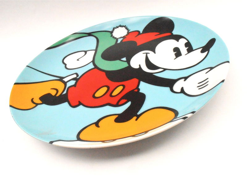 Vintage Skating Mickey Mouse Plate Disney Classic Brenda White Clay Artist Collectible Walt Decorative Plaque Charger Ceramic Memorabilia - product images  of