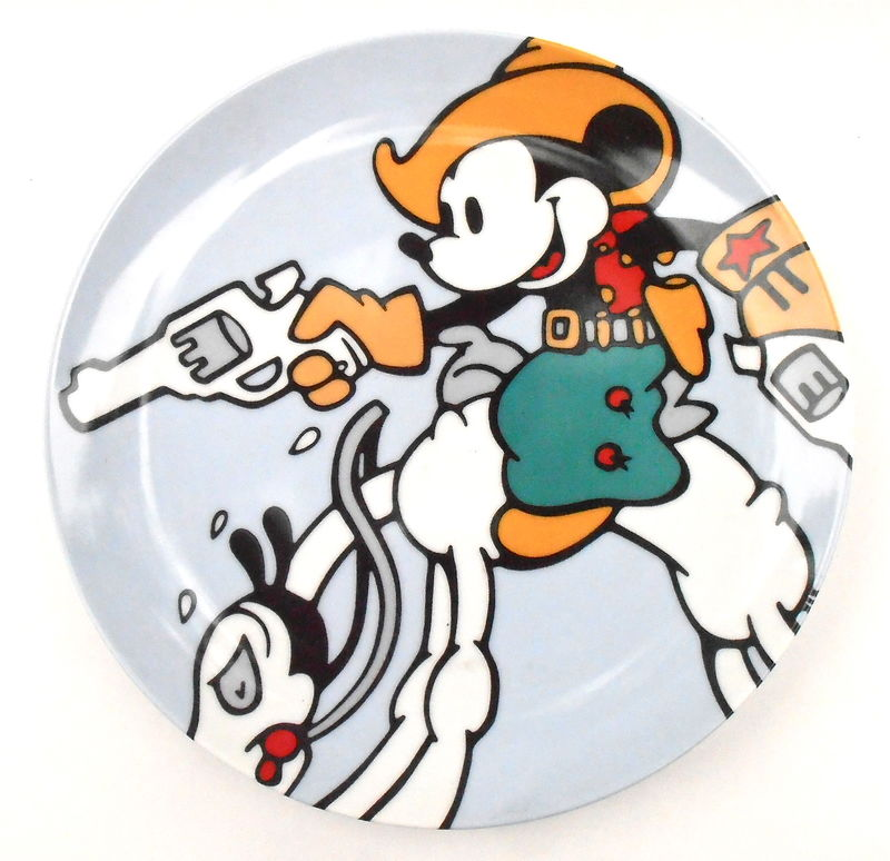 Vintage Two Gun Mickey Mouse Plate Charger Brenda White Series Collectible Round Walt Disney Classic Company Animated Clay Pottery Plaque - product images  of
