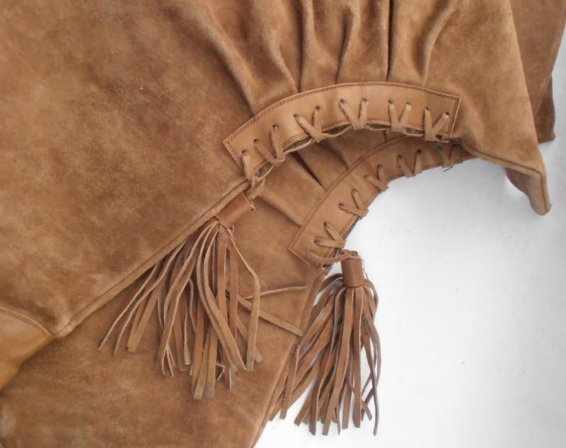 Vintage Tan Suede Boots Ladies Over The Knee Lace Up Tassel Young Lady Tall Camel Brown Leather Size 6.5 EU 37 Flat Shoes Almond Shape Toes - product images  of