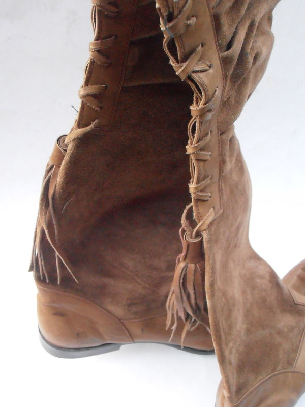 vintage tan suede boots ladies over the knee lace up