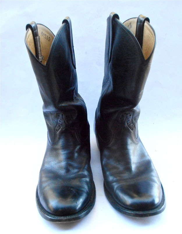 Vintage Roper Farmer Black Leather Boots Mens Cowboy Rios Of Mercedes Pecos Equestrian U.S. Shoe Size 10EE Western Southwestern Riding Work - product images  of