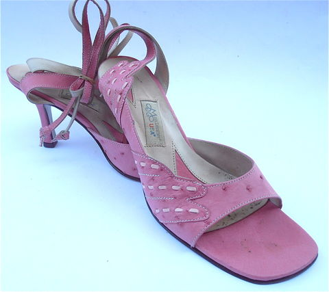 Preowned,Pink,Genuine,Ostrich,Leather,Shoes,Wrap,Around,Ankle,Tie,On,Straps,Open,Toe,High,Heels,Sandals,Exotic,Ladies,Women,Size,7,EU,37.5,preowned pink genuine ostrich leather ladies shoes, used pink ostrich high heel sandals, pink women shoe size 7, pink leather ladies shoe size eu 37.5, feather leather ladies shoes, exotic ostrich leather pink womens shoes, all pink leather ladies shoes