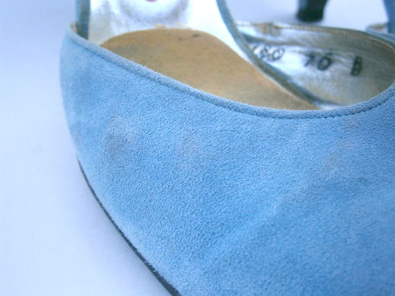 Vintage Blue Suede Ladies Slingback Shoes Sandals Pumps Charles Jourdan Designer Womens Shoes Size 7 Baby Pastel Emiliene Style Sandals  - product images  of