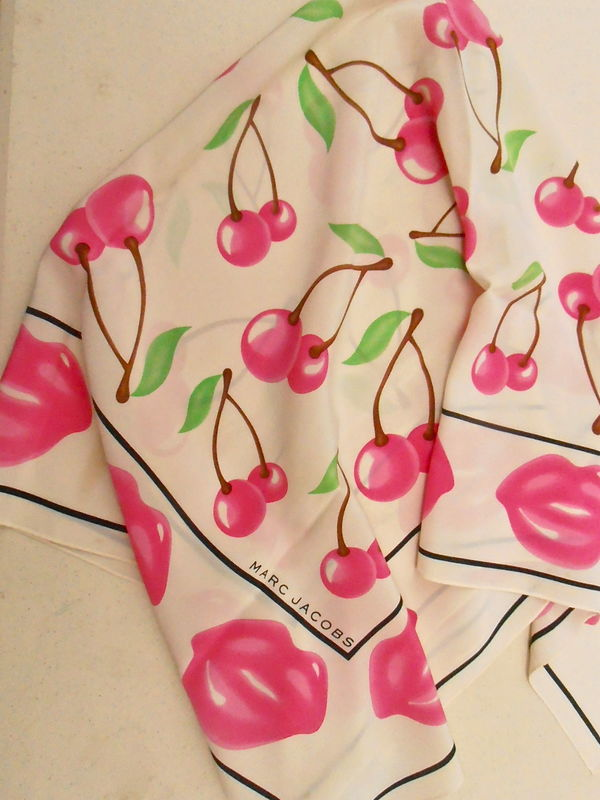 "Marc Jacobs Silk Scarf Hot Pink Lips Cherries Cream 34"" Inches x 34"" Inches Square Hand Rolled Brown Branches Green Leaves Villacollezione - product images  of"