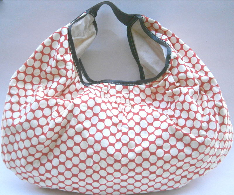 Orange Cream Geometric Hobo Bag Shoulder Handbag Oversized Roomy Printed Fabric Circles Lighweight Tote Travel Soft Sided Beach Summer Large - product images  of