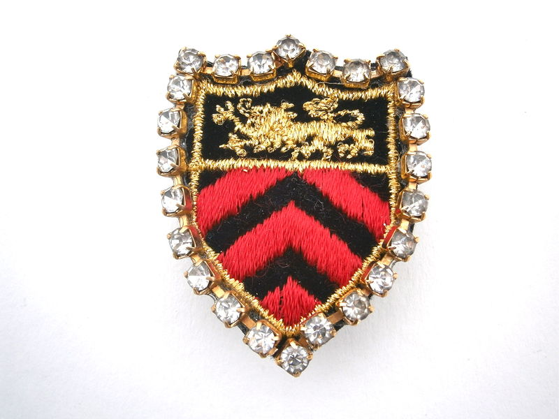 Vintage Military Emblem Earrings Statement Lion Crest Coat Of Arms Red Black Gold Embroidery Applique Badge Rhinestones Chevron Arrows  - product images  of