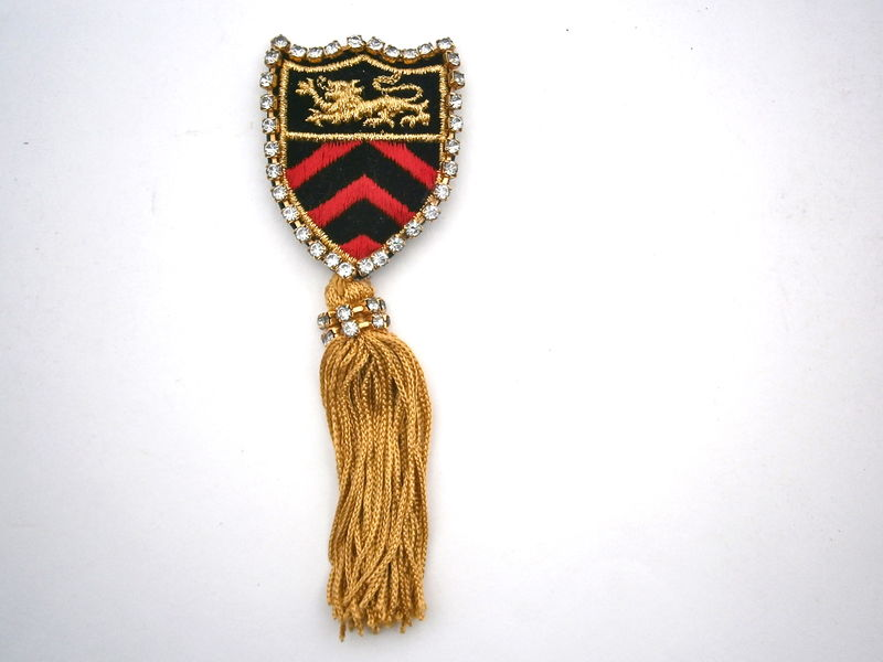 Vintage Military Emblem Brooch Gold Tassels Statement Fringes Pin Lion Coat Of Arms Red Black Gold Applique Badge Rhinestones Chevron Arrows - product images  of