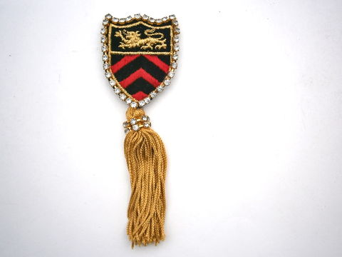 Vintage,Military,Emblem,Brooch,Gold,Tassels,Statement,Fringes,Pin,Lion,Coat,Of,Arms,Red,Black,Applique,Badge,Rhinestones,Chevron,Arrows,vintage red black military brooch, emblem tassel black badge pin, gold lion fringe brooch, coat of arms brooch, red crest lion brooch, gold crest brooch, red black chevron brooch, black gold emblem brooch, golden lion applique, emblem rhinestone brooch