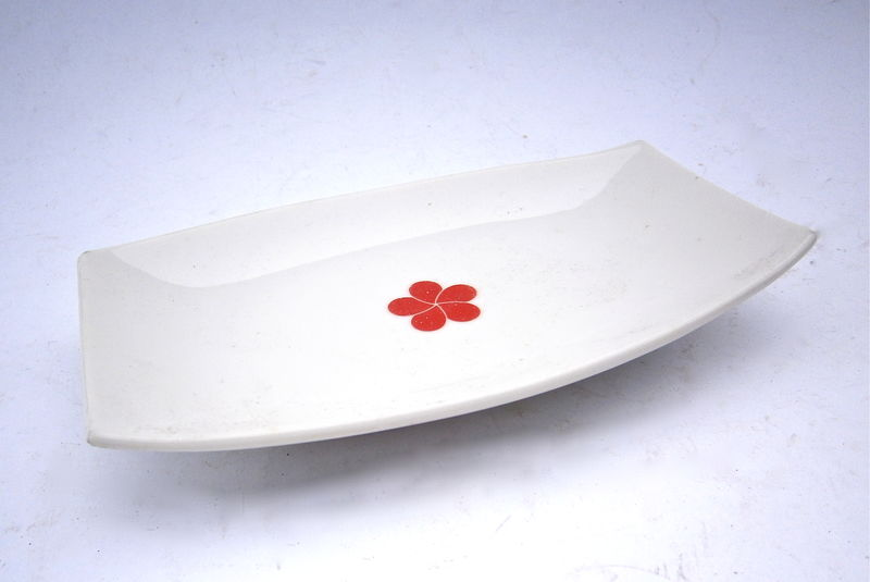 Vintage White Ceramic Rectangular Tray Dish Serving Glaze Pottery Plate Red Camellia Single Flower Small Miniature Platter Mini Catching All - product images  of