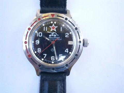 Vintage,Russian,Military,Mens,Watch,Commander,of,Tank,Ministry,Waterproof,Date,Automatic,Komandirskie,Vostok,Stainless,Steel,USSR,CCCP,40mm,vintage russian military tank vostok mens watch, russia ussr cccp military mens watch memorabilia, vintage russian commander ministry tank watch, vintage komandirskie vostok tank automatic watch, vintage 40mm date automatic stainless steel mens watch