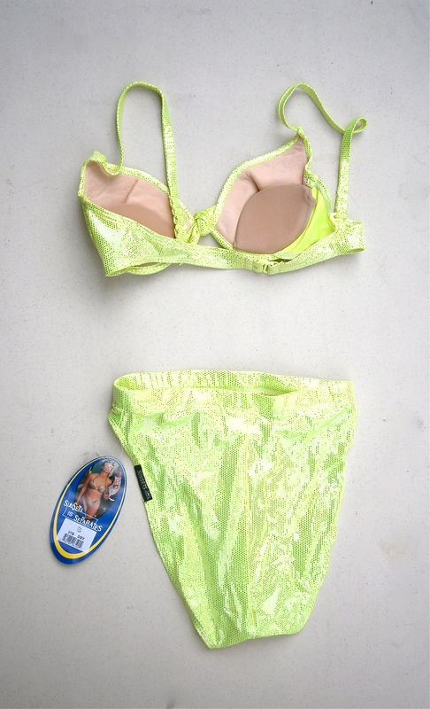 Vintage Neon Green Swimsuit ShinyApple Swimwear Two Piece Bikini Bathing Suit Padded Bra High Cut Bottom Small Underwire Push Up Contour - product images  of