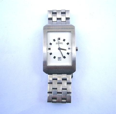 Vintage,Unisex,Skagen,Watch,Rectangular,Wrist,Mens,Women,All,Stainless,Steel,Quartz,Aktiv,A16LSRN,Date,Crystal,Denmark,Designs,One,Of,A,Kind,vintage unisex skagen satin stainless steel wrist watch, skagen rectangular white face mens watch, vintage skagen rectangular womens watch, vintage skagen denmark aktiv A16LSRN aktiv watch, one of a kind skagen quartz watch, japanese quartz date crystal