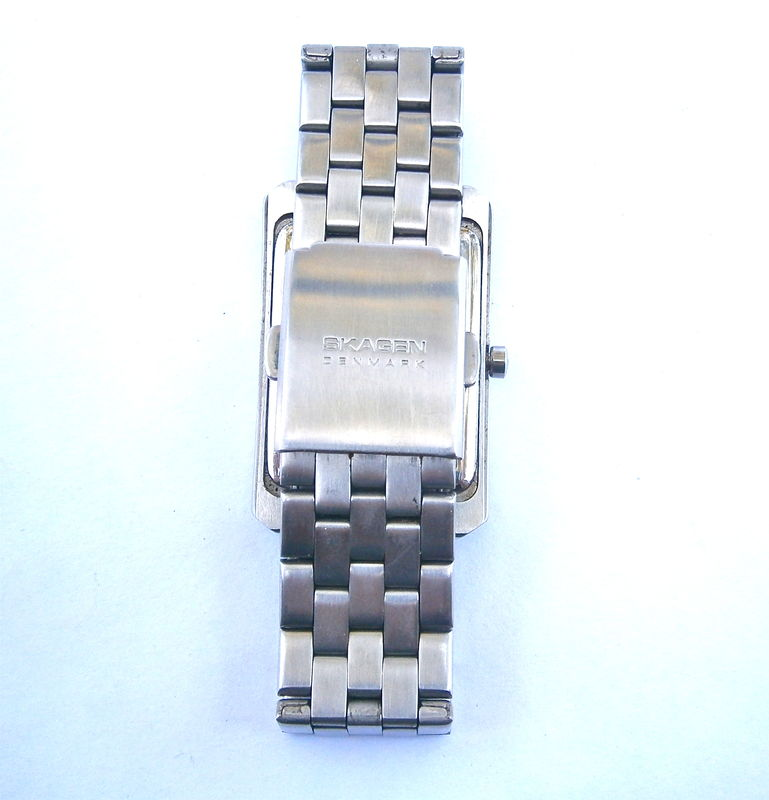 Vintage Unisex Skagen Watch Rectangular Wrist Mens Women All Stainless Steel Quartz Aktiv A16LSRN Date Crystal Denmark Designs One Of A Kind - product images  of