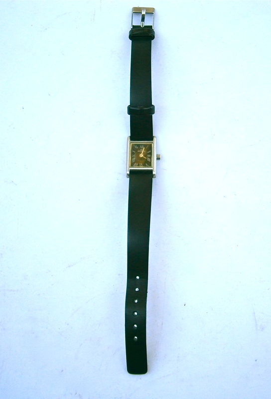 Vintage Small Skagen Rectangular Womens Watch 136SSLB Black Dial Ultra Slim Japan Quartz Stainless Steel Crystal Leather Wrist Strap Band  - product images  of