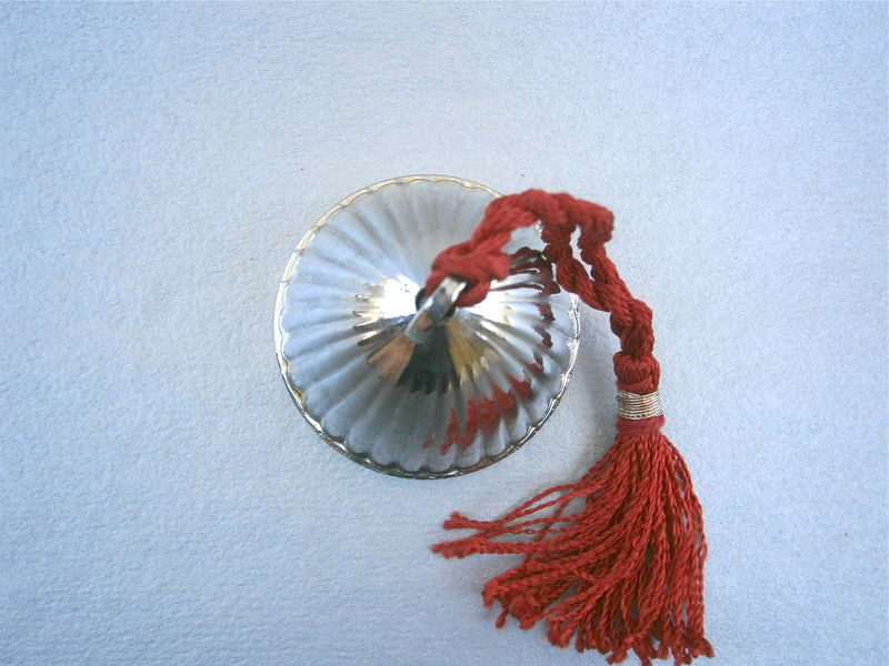 Vintage Shiny Silver Tone Bell Handheld Textured Groove Chrome Plated Red Hanging Twisted Cord Tie Fringes Tassels Decorative Ornamental  - product images  of