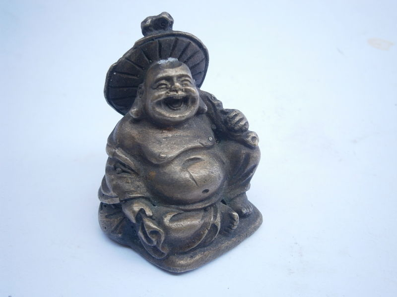 Vintage Naga Buddha Brass Figurine Chinese Asian Laugh Statue Deity Being Decorative Ornamental Zen Icon Worship Nirvana Serpent Snake Cobra - product images  of