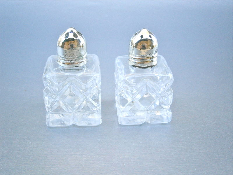 Vintage Cut Glass Salt Pepper Shakers Miniature Silver Tone Caps Diamond Textured Design Condiment Tableware Bottle  Setting Pattern Japan  - product images  of