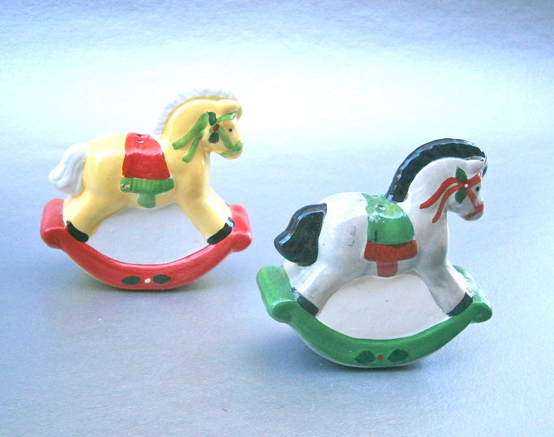 Vintage Horse Pony Salt Pepper Shakers Christmas Condiment Kitsch Ceramic Pottery Clay Red Green Yellow Black Mane Equestrian Equine Festive - product images  of