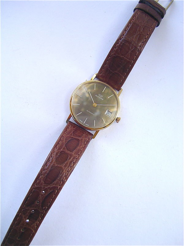Vintage Glycine Mens Dress Watch Gold Plated Automatic Date Model 832522 Stainless Steel 33mm Brown Round Dial Swiss Signed Crown 18mm Wrist - product images  of