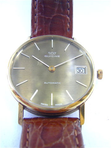 Vintage,Glycine,Mens,Dress,Watch,Gold,Plated,Automatic,Date,Model,832522,Stainless,Steel,33mm,Brown,Round,Dial,Swiss,Signed,Crown,18mm,Wrist,vintage glycine gold plated mens dress watch, vintage glycine automatic date watch, vintage glycine swiss 33mm wrist watch, vintage glycine gold plated 18mm wrist leather strap, glycine gold plated stainless steel watch, vintage glycine model 832522 watch