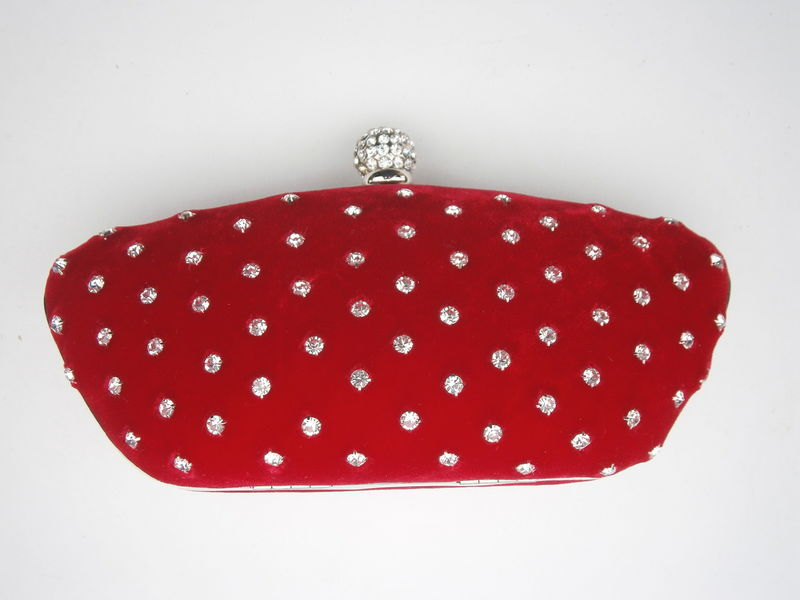 Vintage Red Velvet Evening Bag Formal Clutch Purse Rhinestone Studded Silver Tone Handbag Plush Fabric Ball Encrusted Lock Cocktail Pouch - product images  of