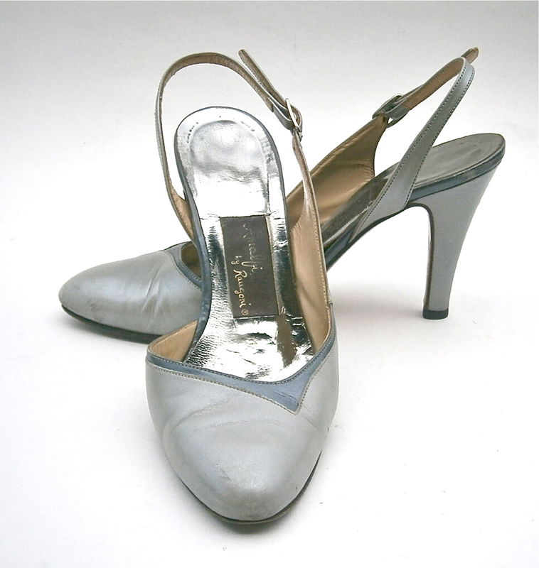 Vintage Gray Ladies Shoes High Heels Pumps Slingback Women Size 5 Amalfi Rangoni Two Tone Italian All Leather Designer Iconic Made In Italy - product images  of