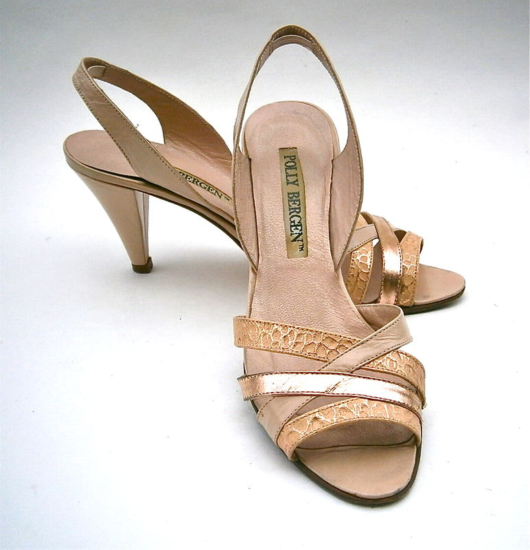 Vintage Salmon Pink Ladies Shoes Peep Toe High Heels Slingback Polly Bergen All Leather Womens Size 5 Italian Made Little Small Petite Feet  - product images  of