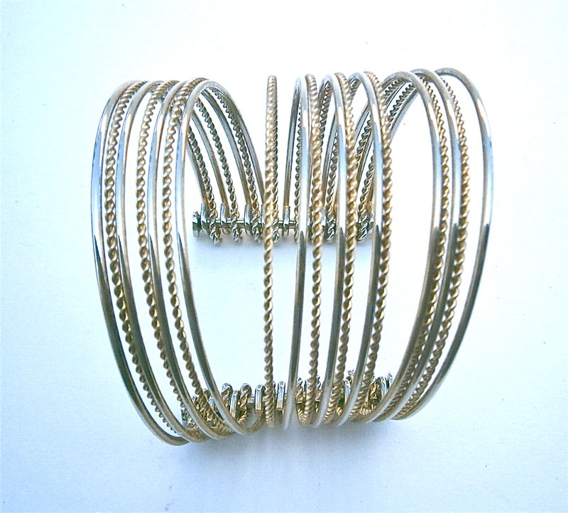 Vintage Gold Tone Cuff Bangle Modernist Multistrand Twist Moveable 19 Thin Strands Textured Smooth Bracelet OOAK One Of A Kind Alternate  - product images  of