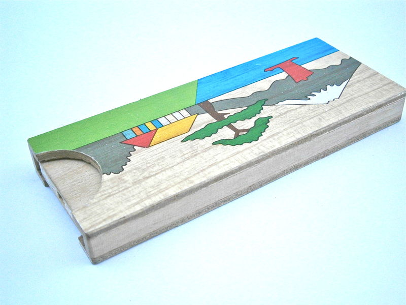 Vintage Mt Fuji Trick Box Puzzle Wooden Disappearing Coin Japanese Koyosegi Magic Penny Toy Kid Children Boys Girls Landscape Painted Case - product images  of