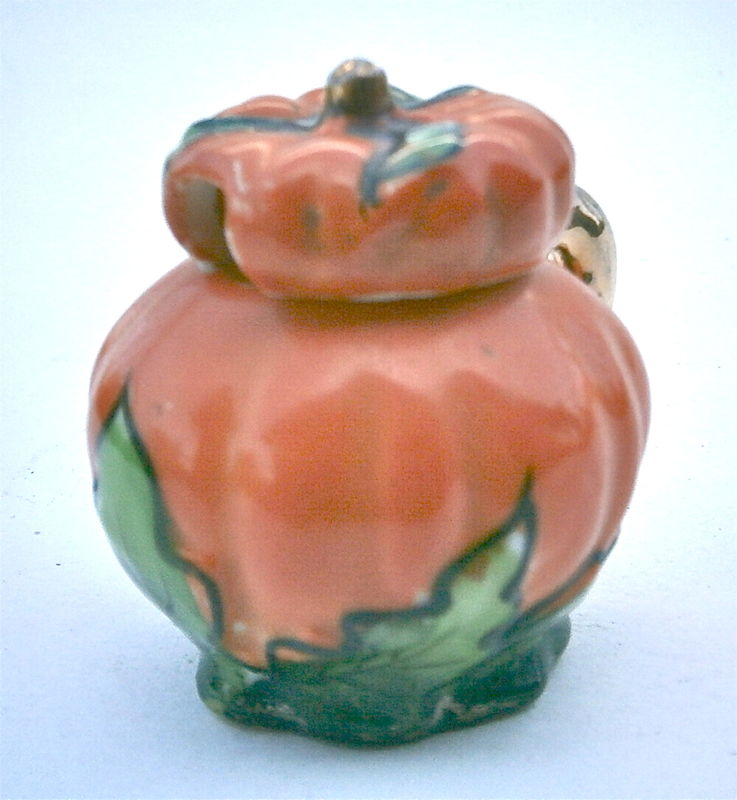 Vintage Ceramic Miniature Pumpkin Halloween Orange Green Pottery Squash Container Memento Novelty Fall Autumn Relish Condiment Serving Table - product images  of