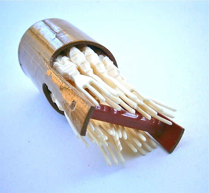 Vintage Carved Faux Ivory Toothpicks Bamboo Holder Plastic Miniature Forks Party Tray Serving Picks Mini Cocktails Bucket Pail Wishing Well - product images  of