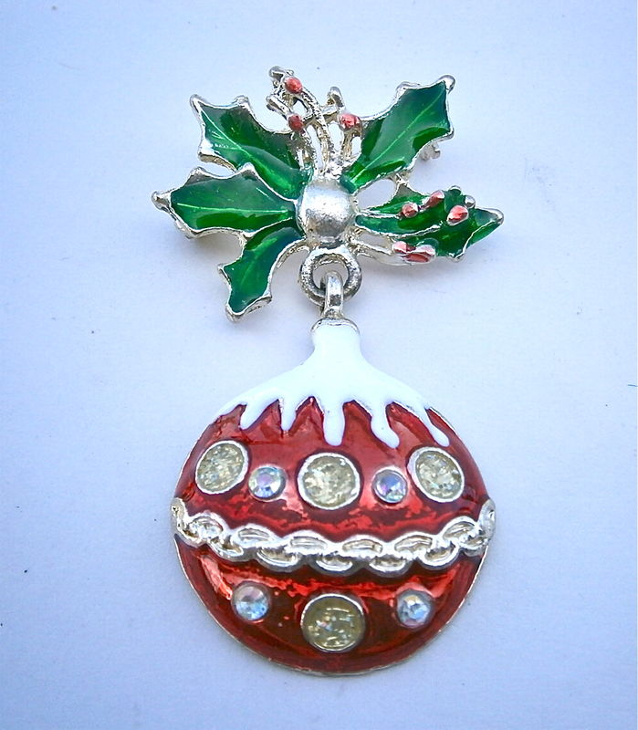 Vintage Christmas Ball Brooch Red Snowy Silver Jingle Enamel Bell Dangling Green Holly Leaves Leaf Enamel Frosty Holiday Berries Mistletoe - product images  of