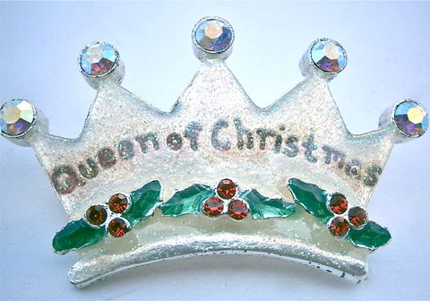 Vintage,Queen,Of,Christmas,Crown,Brooch,AJMO,Enamel,Aurora,Borealis,Rhinestone,Holly,Sprig,Mistletoe,Red,Ruby,Pin,Glitter,Season,Happy,Merry,vintage queen of christmas glitter brooch, vintage queen christmas enamel pin, princess christmas glitter aurora borealis pin, vintage ruby red christmas crown pin, xmas ajmo signed enamel brooch, glitter xmas pin, merry christmas pin, happy christmas pin