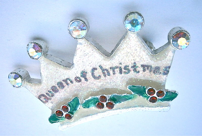 Vintage Queen Of Christmas Crown Brooch AJMO Enamel Aurora Borealis Rhinestone Holly Sprig Mistletoe Red Ruby Pin Glitter Season Happy Merry - product images  of