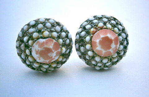 Vintage,Glass,Coral,Earrings,Dome,Beehive,Honeycomb,White,Round,Clip,Ons,Props,Hollywood,Faceted,Design,Rows,Project,Movies,Retro,Graduated,vintage faceted coral glass clip on earrings, vintage faceted coral clip-ons, vintage coral dome honeycomb earrings, vintage coral earrings hollywood movie props, faceted white glass round earrings, coral round dome earrings, coral glass beehive earrings