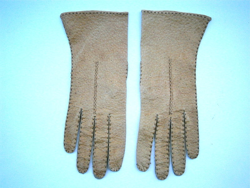 Vintage Light Brown Ladies Leather Gloves Dark Tan Soft Leather Winter Gloves Size 7 Stitching Leda Mexico Wrist Length Midcentury Driving - product images  of
