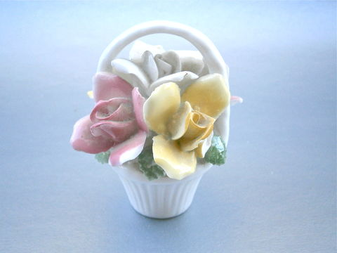 Vintage,Pastel,Floral,Basket,Glazed,Ceramic,Figurine,Pink,Yellow,White,Flowers,Bouquet,Handle,Shabby,Cottage,Chic,Display,Porcelain,vintage pastel flower bouquet vase, vintage pastel floral basket, vintage white glazed basket, vintage pink yellow white flower glazed ceramic figurine, vintage pastel flowers porcelain figurine, pastel flower porcelain statue, floral bouquet white basket