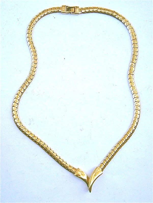 Vintage Brazilian Snake Chain Necklace Faux Gold Tone Flat Link Letter V Focal Monogram Emblem 24 Inch Long Costume Jewelry Shiny Pendant - product images  of