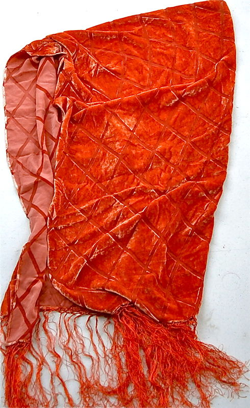Vintage Orange Red Scarf Velvet Velveteen Fringes Rectangular Autumn Fall Colors Diamond Square Diagonal Idea Nuova Sheen Geometric Lines - product images  of
