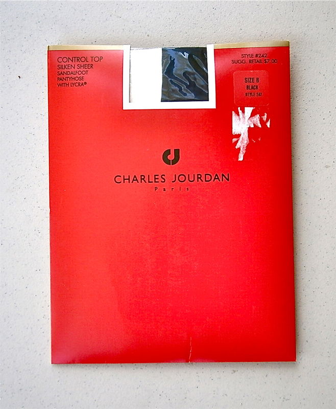 Vintage Black Pantyhose Charles Jourdan Nylon Size B Style 242 Control Top Silken Sheer Sandalfoot 5 Feet 5 Inch 8 Inch 104 Pounds 150 Lbs  - product images  of