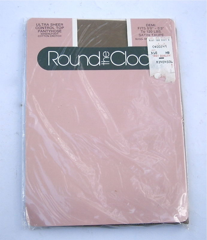 Vintage Satin Taupe Demi Pantyhose Round The Clock Ultra Sheer Control Top Nylon Sandalfoot 5 Feet Thru 5 Feet 3 Inches Up to 120 Lbs U.S.A. - product images  of