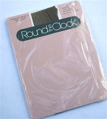 Vintage,Satin,Taupe,Pantyhose,Round,The,Clock,Sheer,To,Waist,Nylons,Sandalfoot,Trim,5,Feet,3,Inch,Thru,7,115,Pounds,135,Lbs,vintage round the clock satin taupe pantyhose, vintage 80s sheer to waist nylon sandalfoot pantyhose size trim, 5 feet 3 inch nylon taupe stockings nylon hosiery, vintage 115 pounds thru 135 lbs pantyhose, sheer to waist sandalfoot pantyhose size trim