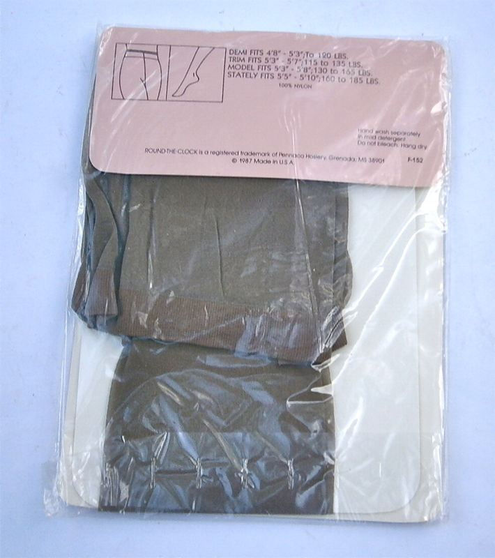 Vintage Satin Taupe Pantyhose Round The Clock Sheer To The Waist Nylons Sandalfoot Trim 5 Feet 3 Inch Thru 7 Inch 115 Pounds Thru 135 Lbs  - product images  of